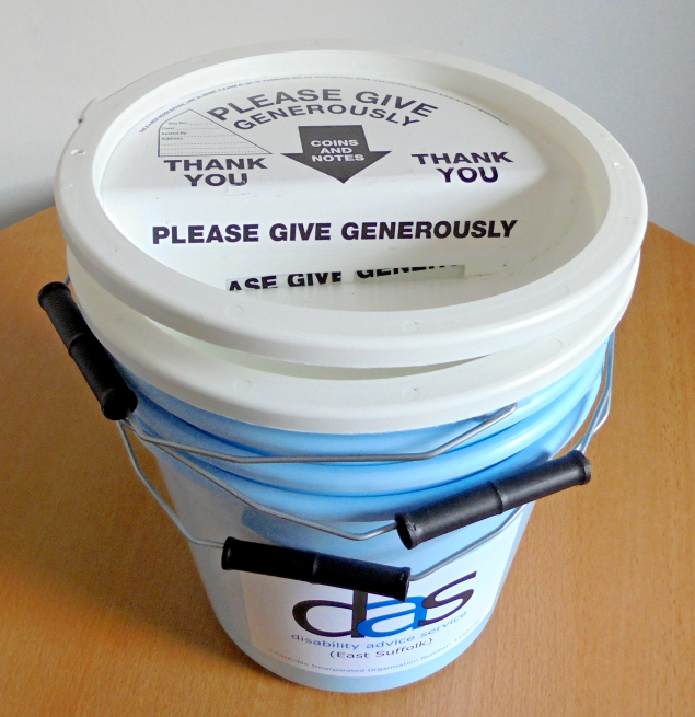 DAS charity collection bucket